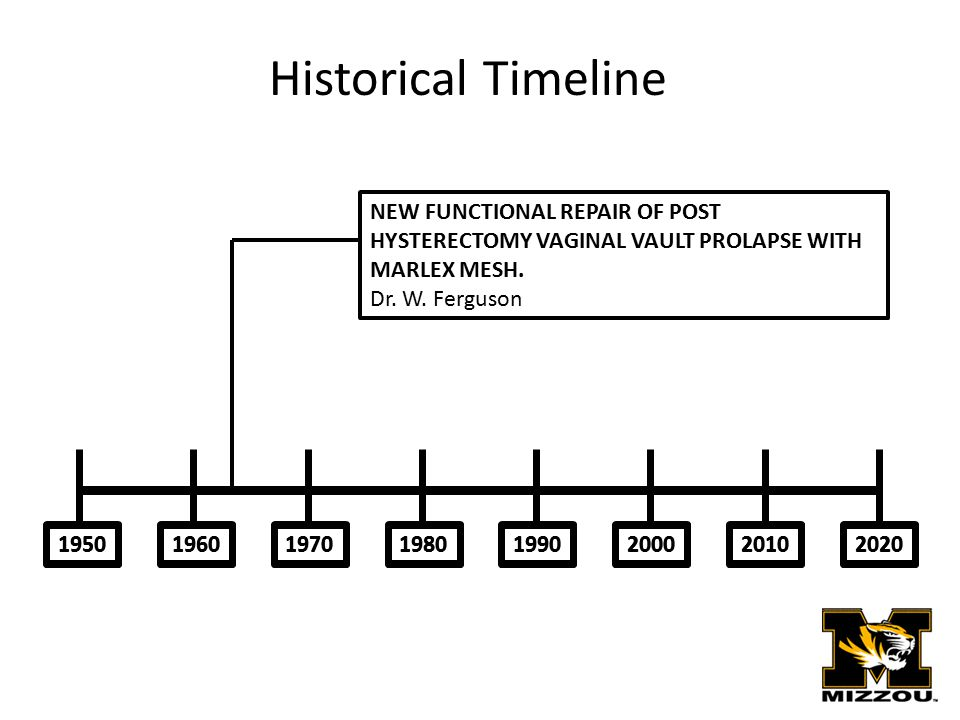 19501970201020001990198019602020 NEW FUNCTIONAL REPAIR OF POST HYSTERECTOMY VAGINAL VAULT PROLAPSE WITH MARLEX MESH. Dr. W. Ferguson Historical Timeli