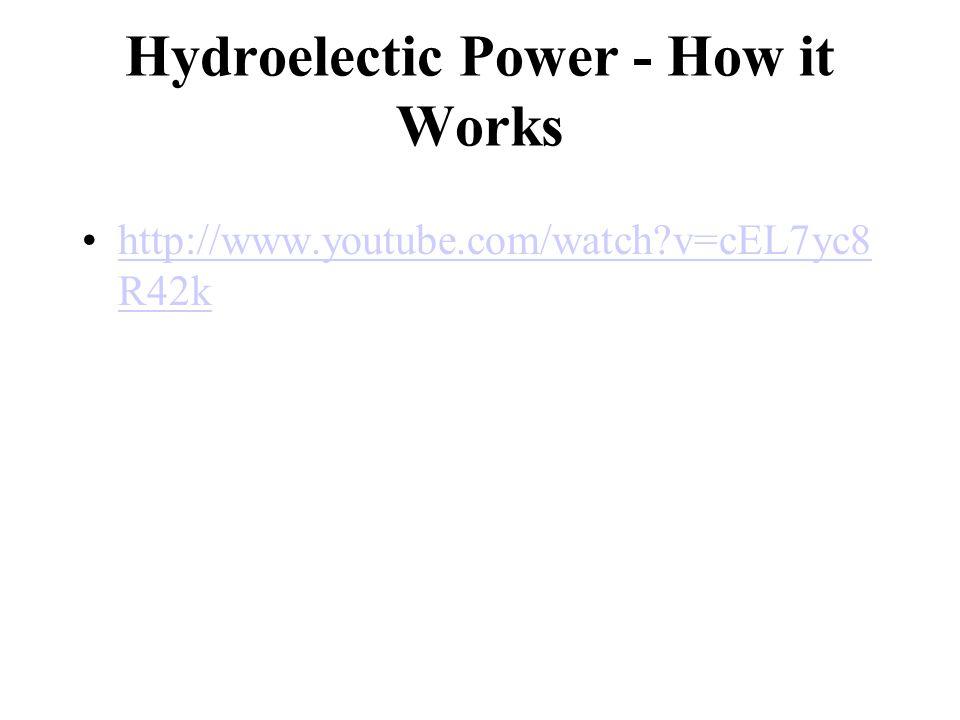Hydroelectic Power - How it Works http://www.youtube.com/watch v=cEL7yc8 R42khttp://www.youtube.com/watch v=cEL7yc8 R42k