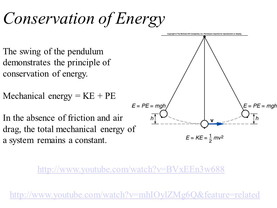 Conservation of Energy The swing of the pendulum demonstrates the principle of conservation of energy.