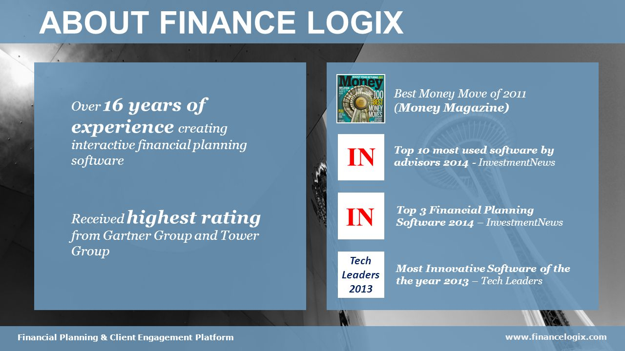 Best Money Move of 2011 (Money Magazine) ABOUT FINANCE LOGIX Over 16 years of experience creating interactive financial planning software Received highest rating from Gartner Group and Tower Group www.financelogix.com Financial Planning & Client Engagement Platform Top 10 most used software by advisors 2014 - InvestmentNews Top 3 Financial Planning Software 2014 – InvestmentNews Most Innovative Software of the the year 2013 – Tech Leaders IN Tech Leaders 2013 IN