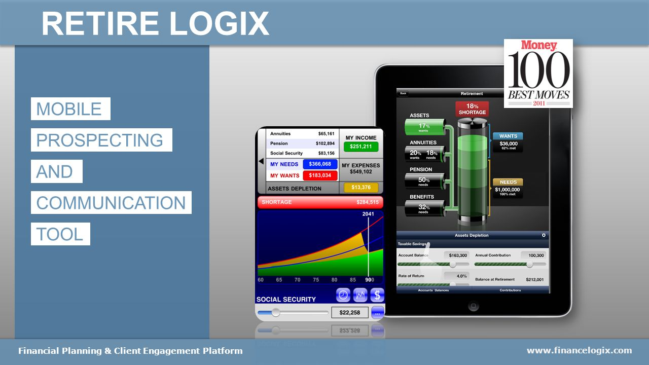 RETIRE LOGIX www.financelogix.com Financial Planning & Client Engagement Platform MOBILE PROSPECTING AND COMMUNICATION TOOL