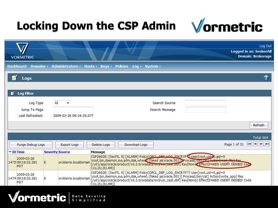 Locking Down the CSP Admin