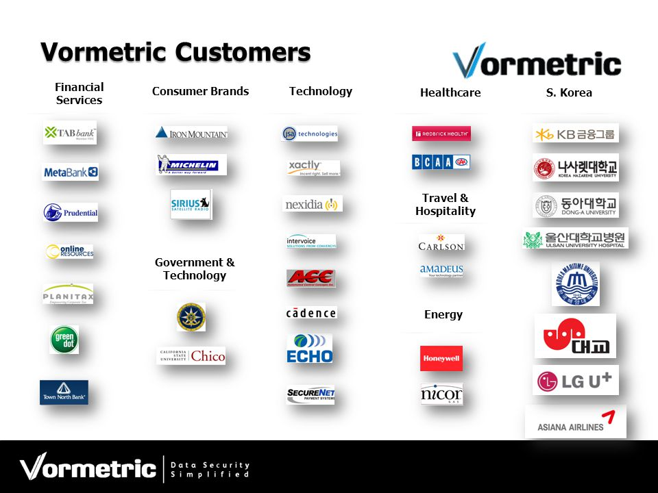 Vormetric Customers Financial Services Consumer BrandsTechnology Healthcare Government & Technology Energy Travel & Hospitality S. Korea