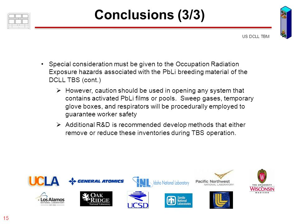 077-05/rs US DCLL TBM 15 Conclusions (3/3) Special consideration must be given to the Occupation Radiation Exposure hazards associated with the PbLi b