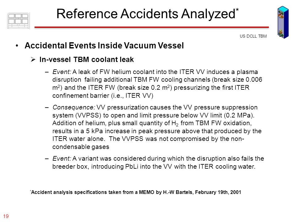 077-05/rs US DCLL TBM 19 Accidental Events Inside Vacuum Vessel  In-vessel TBM coolant leak –Event: A leak of FW helium coolant into the ITER VV indu