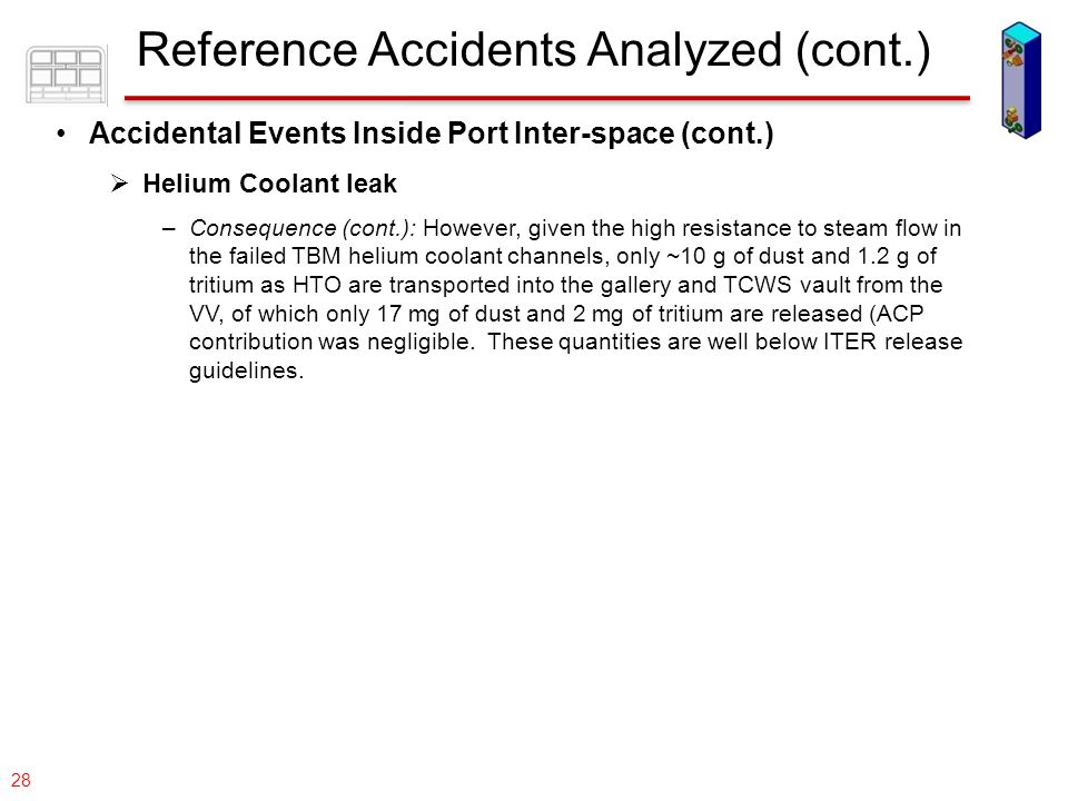 077-05/rs US DCLL TBM 28 Accidental Events Inside Port Inter-space (cont.)  Helium Coolant leak –Consequence (cont.): However, given the high resista