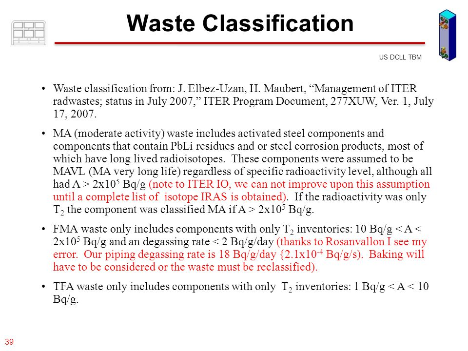 "077-05/rs US DCLL TBM 39 Waste Classification Waste classification from: J. Elbez-Uzan, H. Maubert, ""Management of ITER radwastes; status in July 2007"