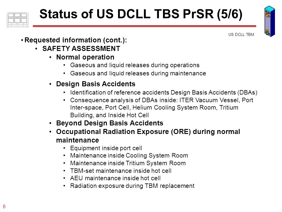 077-05/rs US DCLL TBM 27 Accidental Events Inside Port Inter-space (cont.)  Helium Coolant leak –Event: The postulated event is a double-ended offset shear of the TBM helium coolant inlet line.