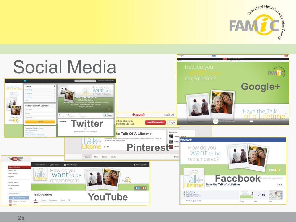 Social Media 26 Google+ Twitter YouTube Facebook Pinterest