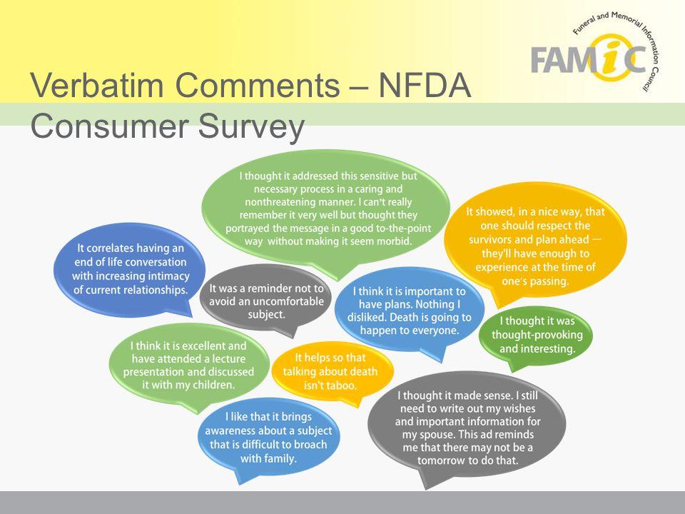 Verbatim Comments – NFDA Consumer Survey