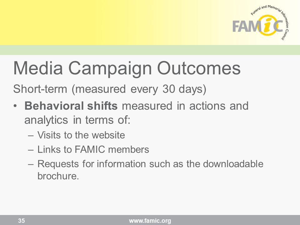 Short-term (measured every 30 days) Behavioral shifts measured in actions and analytics in terms of: –Visits to the website –Links to FAMIC members –Requests for information such as the downloadable brochure.