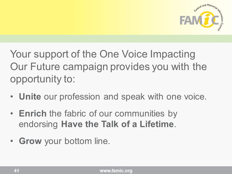 Your support of the One Voice Impacting Our Future campaign provides you with the opportunity to: Unite our profession and speak with one voice.