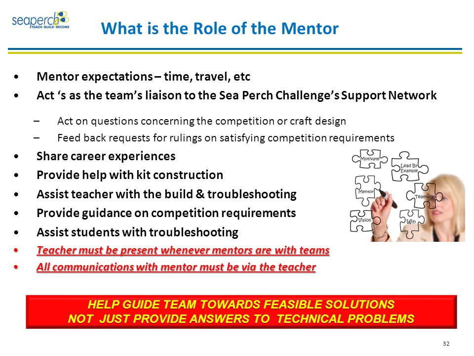 32 What is the Role of the Mentor Mentor expectations – time, travel, etc Act 's as the team's liaison to the Sea Perch Challenge's Support Network –Act on questions concerning the competition or craft design –Feed back requests for rulings on satisfying competition requirements Share career experiences Provide help with kit construction Assist teacher with the build & troubleshooting Provide guidance on competition requirements Assist students with troubleshooting Teacher must be present whenever mentors are with teamsTeacher must be present whenever mentors are with teams All communications with mentor must be via the teacherAll communications with mentor must be via the teacher HELP GUIDE TEAM TOWARDS FEASIBLE SOLUTIONS NOT JUST PROVIDE ANSWERS TO TECHNICAL PROBLEMS