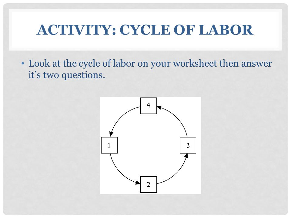 ACTIVITY: CYCLE OF LABOR Look at the cycle of labor on your worksheet then answer it's two questions.