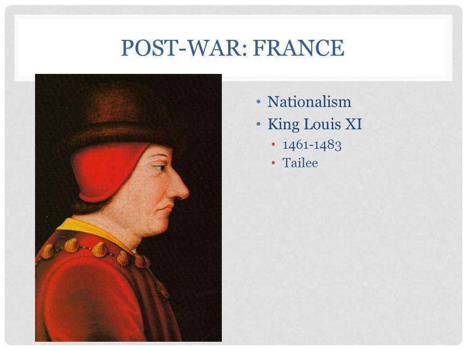 POST-WAR: FRANCE Nationalism King Louis XI 1461-1483 Tailee