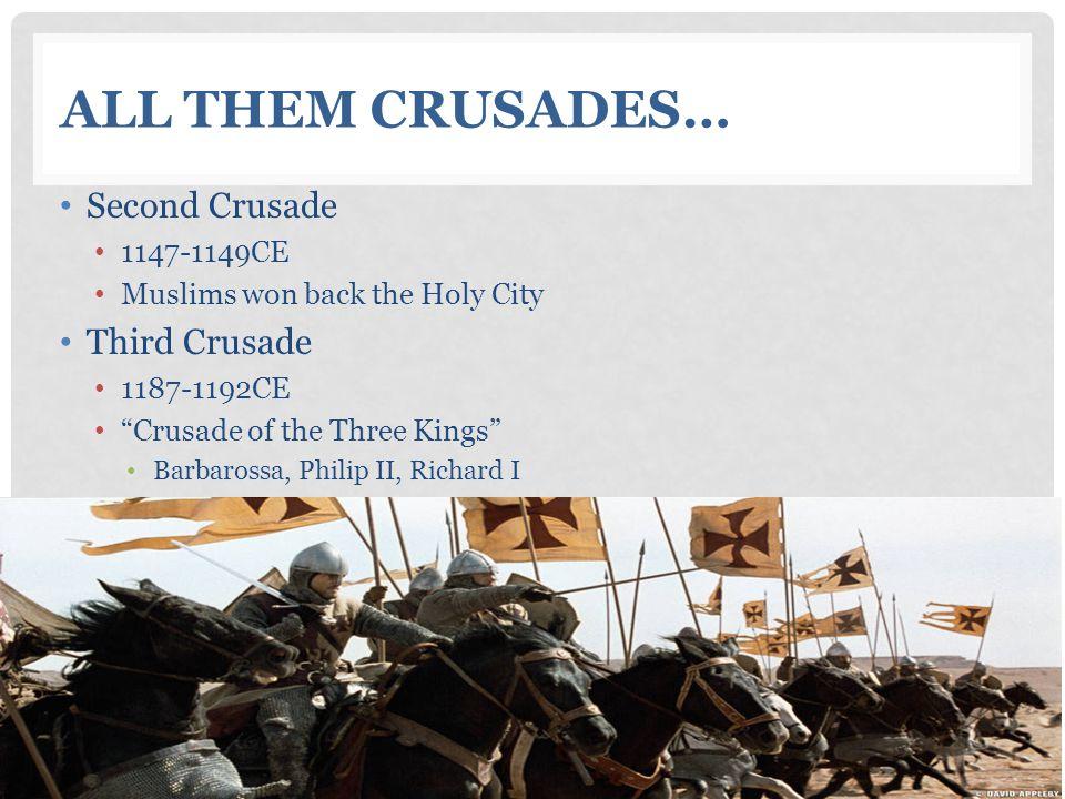 ALL THEM CRUSADES… Second Crusade 1147-1149CE Muslims won back the Holy City Third Crusade 1187-1192CE Crusade of the Three Kings Barbarossa, Philip II, Richard I