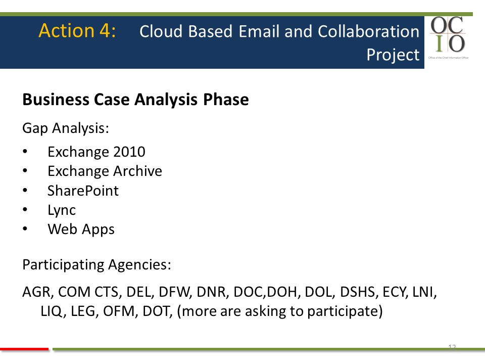 Action 4: Cloud Based Email and Collaboration Project Business Case Analysis Phase Gap Analysis: Exchange 2010 Exchange Archive SharePoint Lync Web Ap