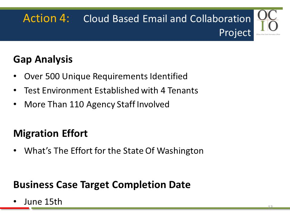 Action 4: Cloud Based Email and Collaboration Project Gap Analysis Over 500 Unique Requirements Identified Test Environment Established with 4 Tenants