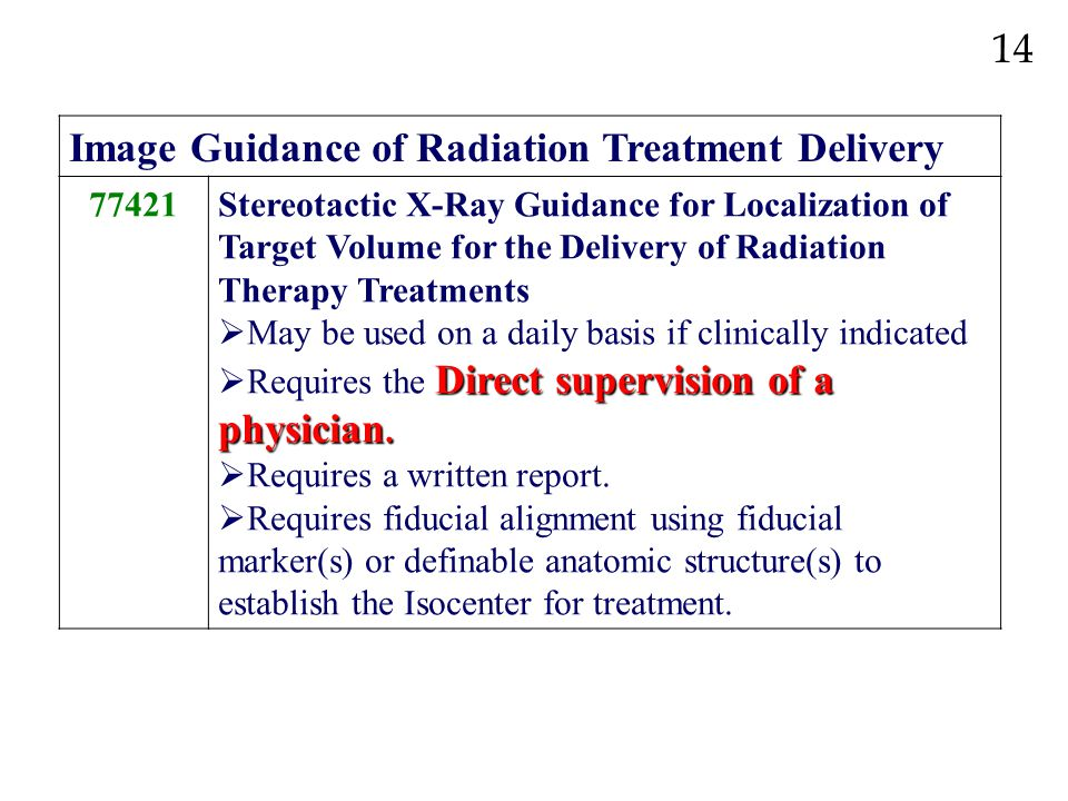 Image Guidance of Radiation Treatment Delivery 77421Stereotactic X-Ray Guidance for Localization of Target Volume for the Delivery of Radiation Therap
