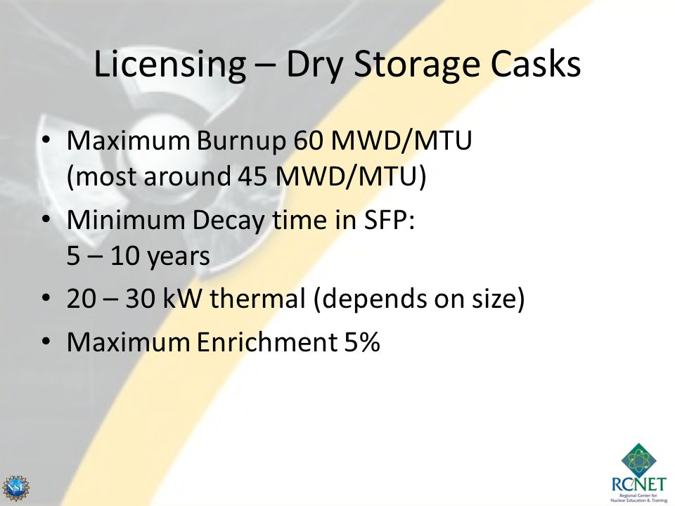 Licensing – Dry Storage Casks Maximum Burnup 60 MWD/MTU (most around 45 MWD/MTU) Minimum Decay time in SFP: 5 – 10 years 20 – 30 kW thermal (depends on size) Maximum Enrichment 5% 7