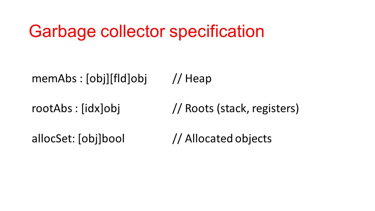 Garbage collector specification memAbs : [obj][fld]obj// Heap rootAbs : [idx]obj// Roots (stack, registers) allocSet: [obj]bool// Allocated objects