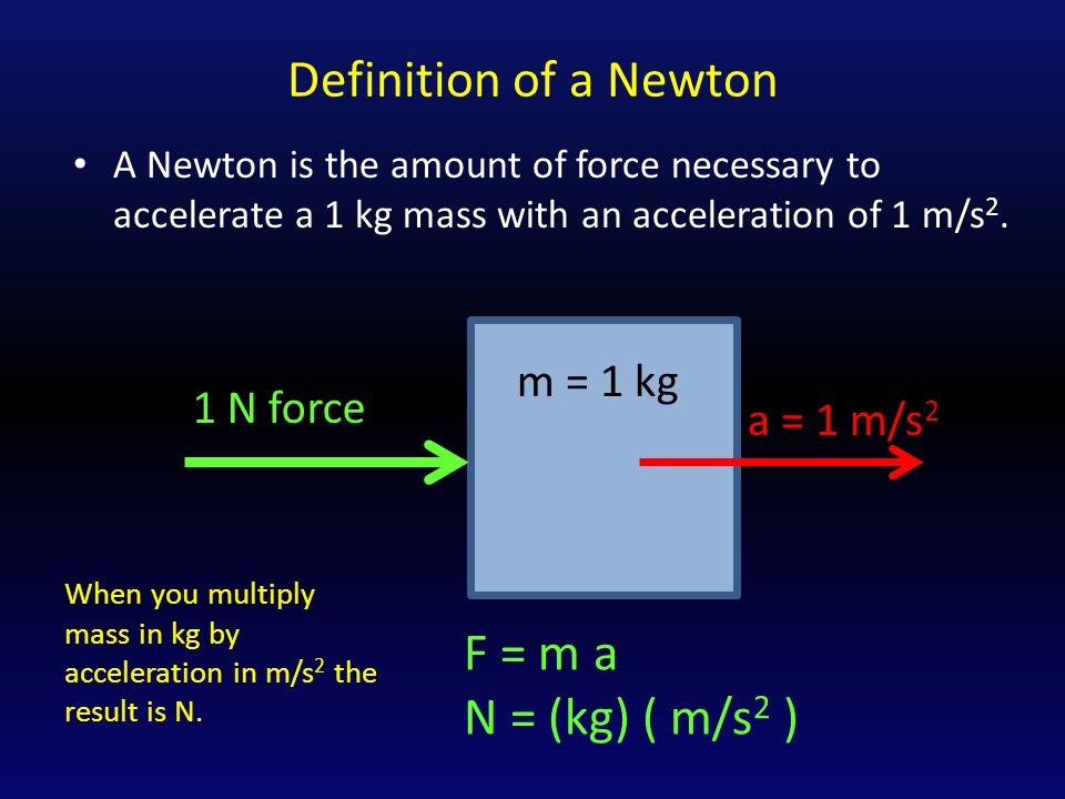 Definition of a Newton A Newton is the amount of force necessary to accelerate a 1 kg mass with an acceleration of 1 m/s 2.