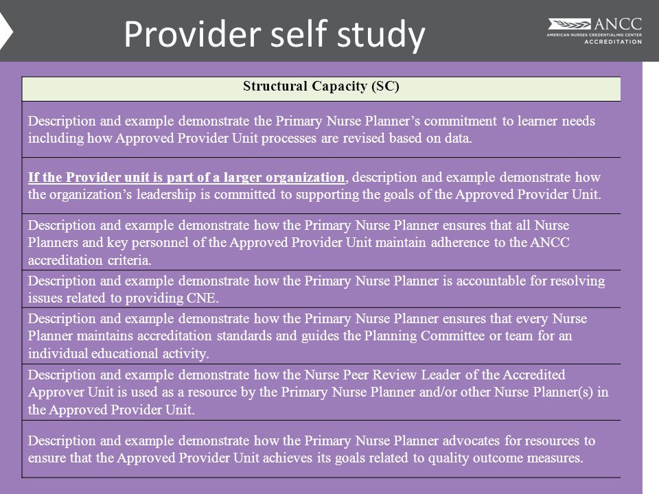 Provider self study Structural Capacity (SC) Description and example demonstrate the Primary Nurse Planner's commitment to learner needs including how Approved Provider Unit processes are revised based on data.