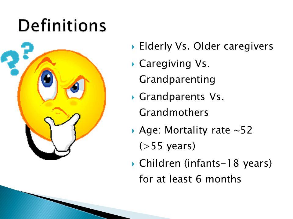  Elderly Vs. Older caregivers  Caregiving Vs. Grandparenting  Grandparents Vs. Grandmothers  Age: Mortality rate ~52 (>55 years)  Children (infan