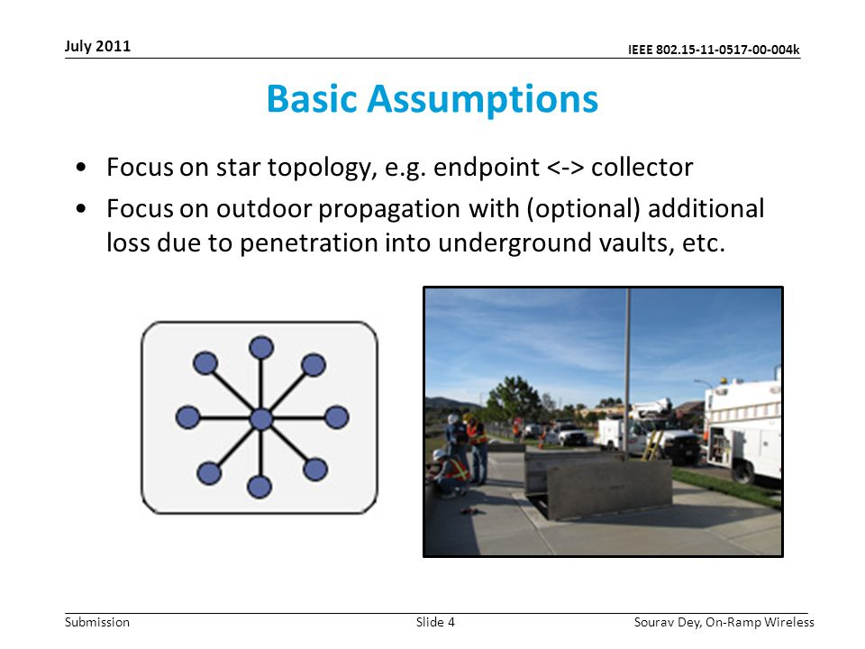 IEEE 802.15-11-0517-00-004k Submission Basic Assumptions Focus on star topology, e.g.
