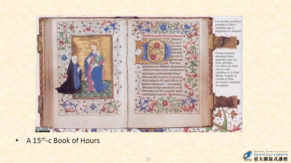 12 A 15 th -c Book of Hours