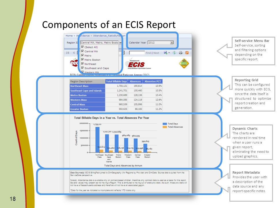 18 Components of an ECIS Report Self-service Menu Bar Self-service, sorting and filtering options depending on the specific report.