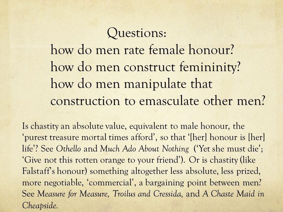 Questions: how do men rate female honour. how do men construct femininity.
