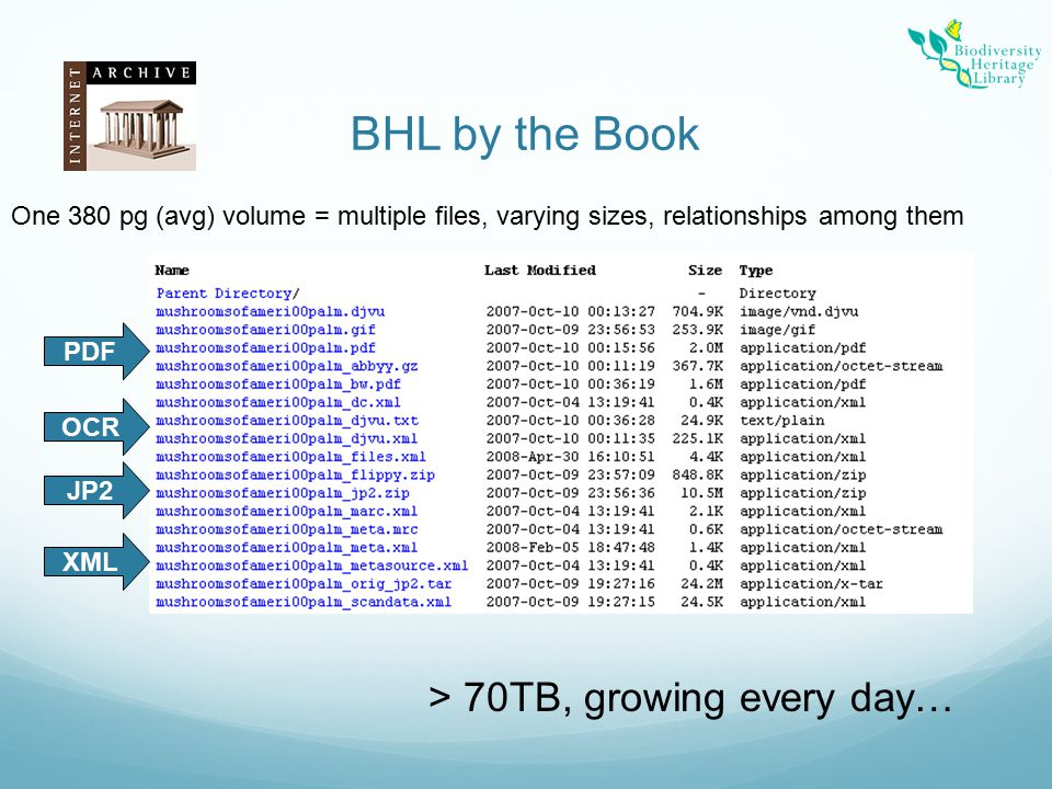 BHL by the Book PDF OCR XML JP2 > 70TB, growing every day… One 380 pg (avg) volume = multiple files, varying sizes, relationships among them