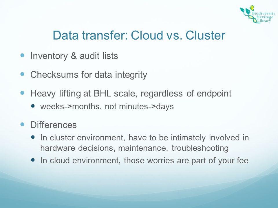 Data transfer: Cloud vs.