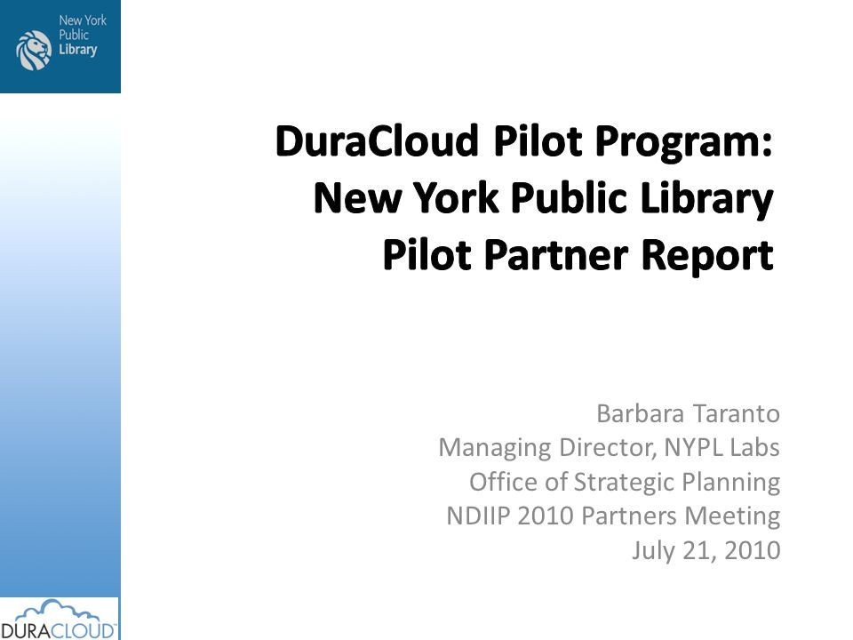 Barbara Taranto Managing Director, NYPL Labs Office of Strategic Planning NDIIP 2010 Partners Meeting July 21, 2010
