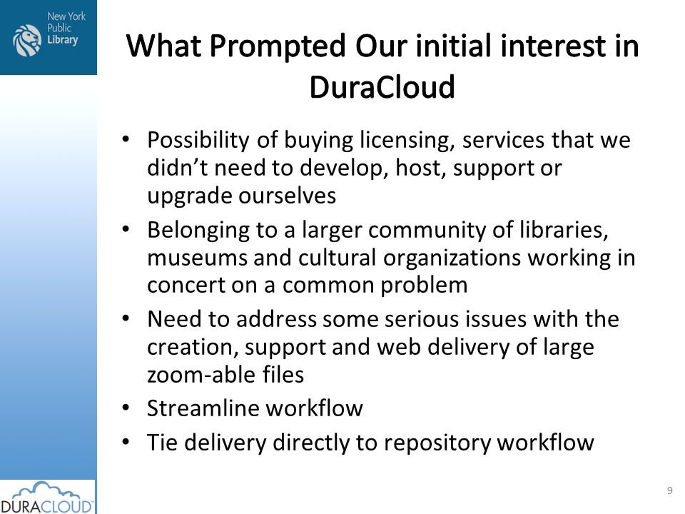 Access using DuraCloud 40 © 2010 WGBH Ingest WGBH DuraCloud Instance Amazon EMC RackSpace Digital Access Management system Open Vault Fedora Repository Open Vault Fedora Repository Access file Access services: Streaming File format transformation File access collaboration Access file streaming