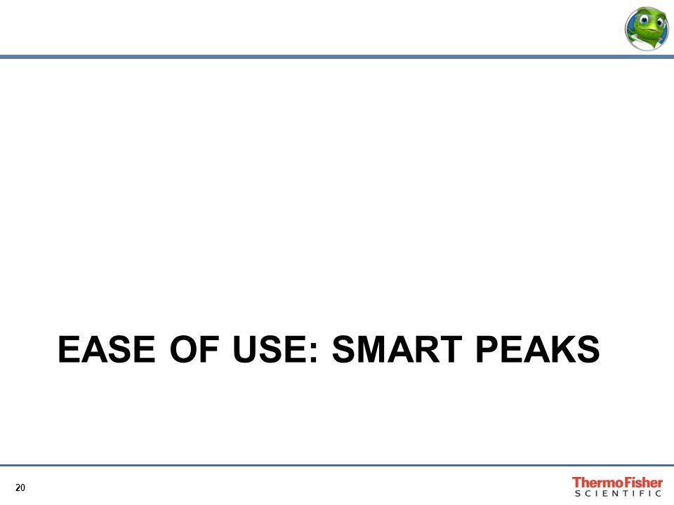 20 EASE OF USE: SMART PEAKS