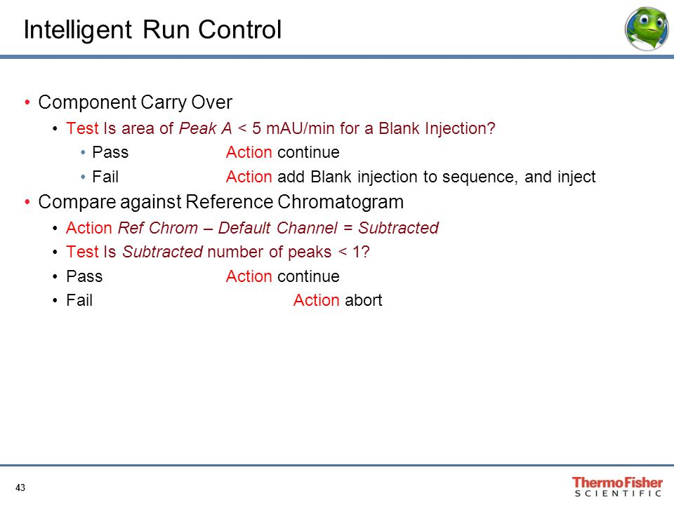 43 Intelligent Run Control Component Carry Over Test Is area of Peak A < 5 mAU/min for a Blank Injection? PassAction continue FailAction add Blank inj