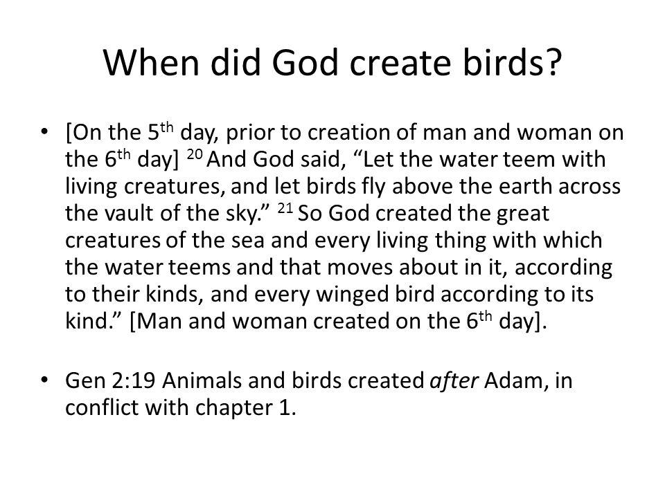 When did God create birds.