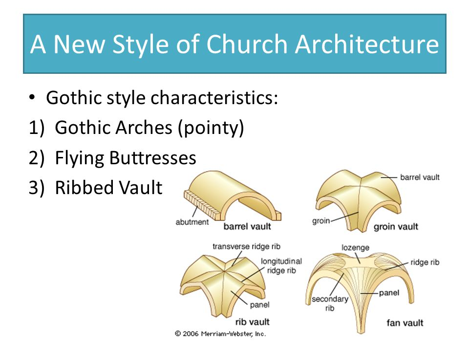 A New Style of Church Architecture Gothic style characteristics: 1)Gothic Arches (pointy) 2)Flying Buttresses 3)Ribbed Vault