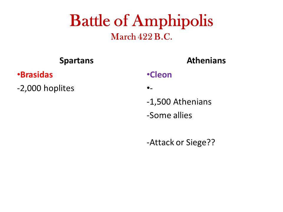 Battle of Amphipolis March 422 B.C. Spartans Brasidas -2,000 hoplites Athenians Cleon - -1,500 Athenians -Some allies -Attack or Siege??