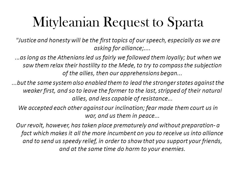 Mityleanian Request to Sparta