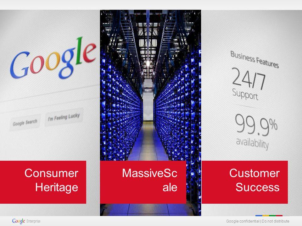 Google confidential   Do not distribute MassiveSc ale Consumer Heritage Customer Success Google confidential   Do not distribute