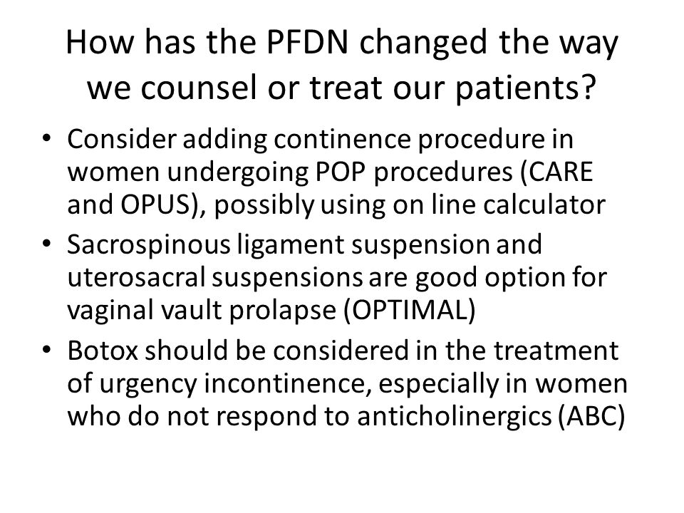 How has the PFDN changed the way we counsel or treat our patients.