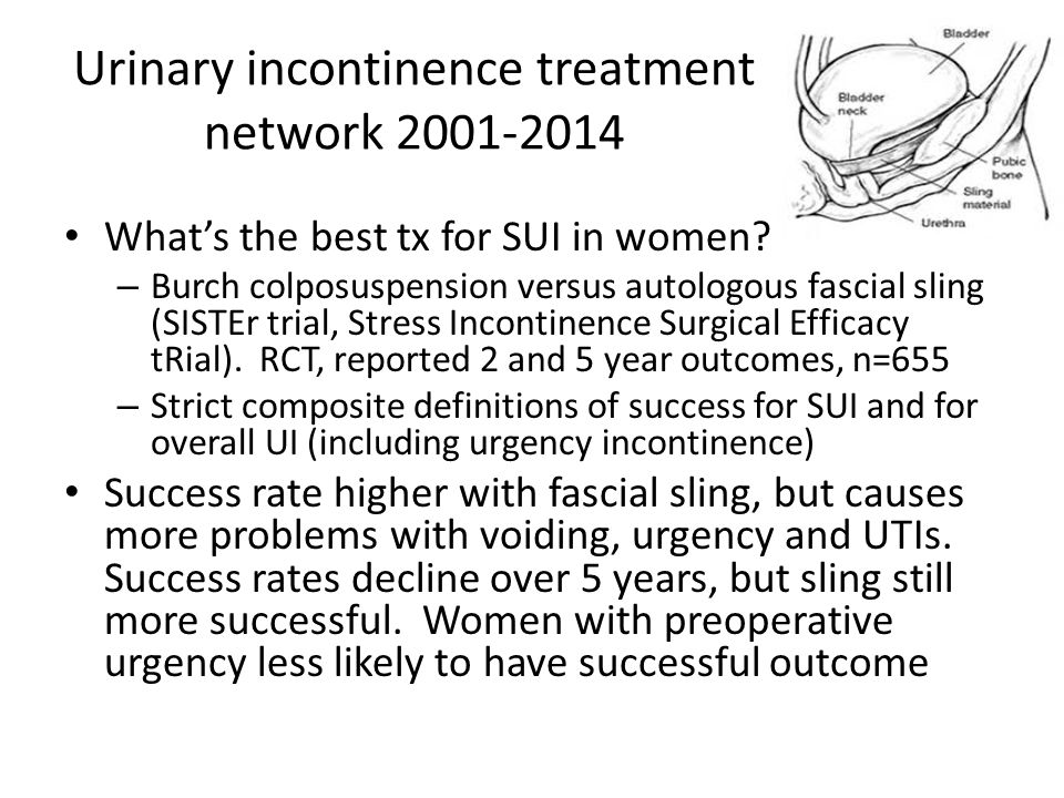 Urinary incontinence treatment network 2001-2014 What's the best tx for SUI in women.
