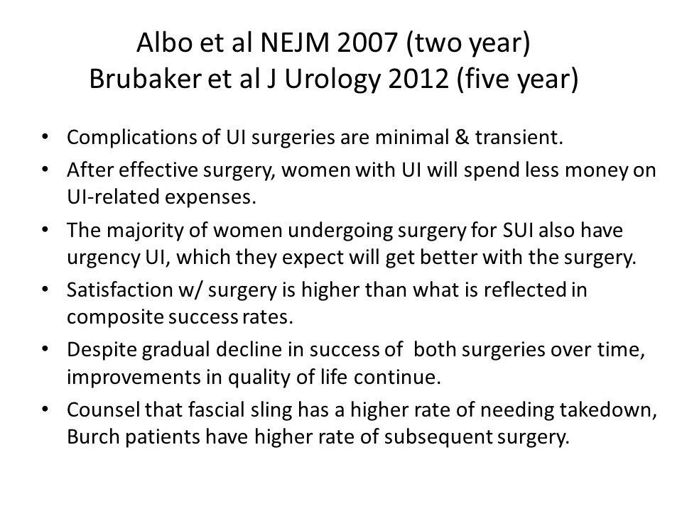 Albo et al NEJM 2007 (two year) Brubaker et al J Urology 2012 (five year) Complications of UI surgeries are minimal & transient. After effective surge