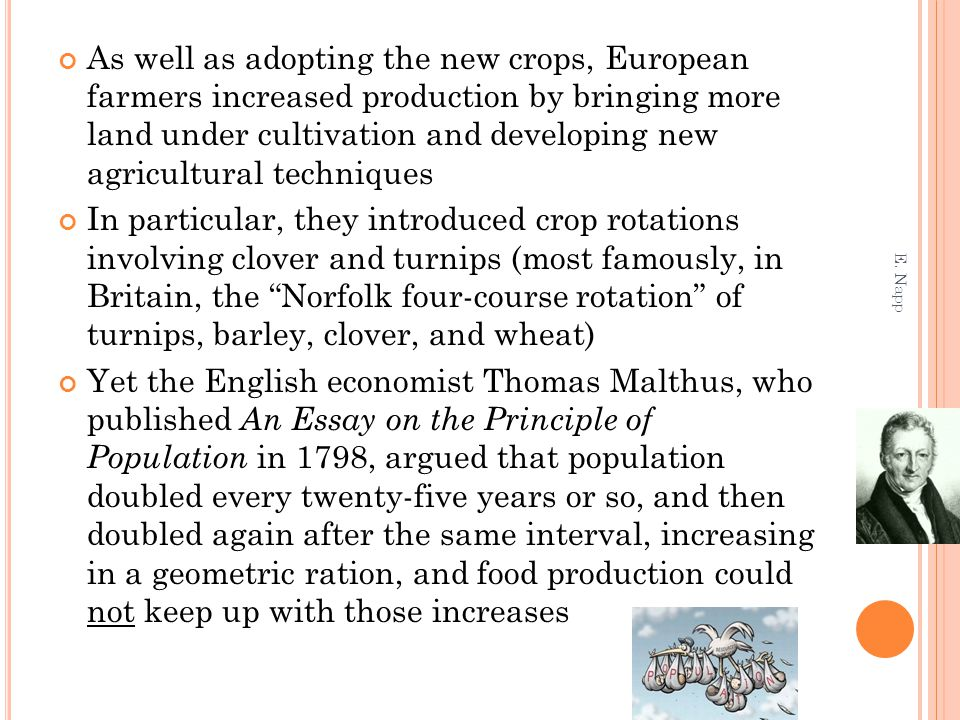 As well as adopting the new crops, European farmers increased production by bringing more land under cultivation and developing new agricultural techniques In particular, they introduced crop rotations involving clover and turnips (most famously, in Britain, the Norfolk four-course rotation of turnips, barley, clover, and wheat) Yet the English economist Thomas Malthus, who published An Essay on the Principle of Population in 1798, argued that population doubled every twenty-five years or so, and then doubled again after the same interval, increasing in a geometric ration, and food production could not keep up with those increases E.