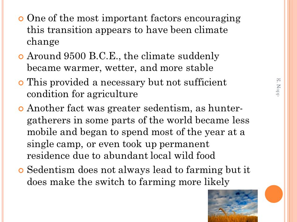 One of the most important factors encouraging this transition appears to have been climate change Around 9500 B.C.E., the climate suddenly became warmer, wetter, and more stable This provided a necessary but not sufficient condition for agriculture Another fact was greater sedentism, as hunter- gatherers in some parts of the world became less mobile and began to spend most of the year at a single camp, or even took up permanent residence due to abundant local wild food Sedentism does not always lead to farming but it does make the switch to farming more likely E.