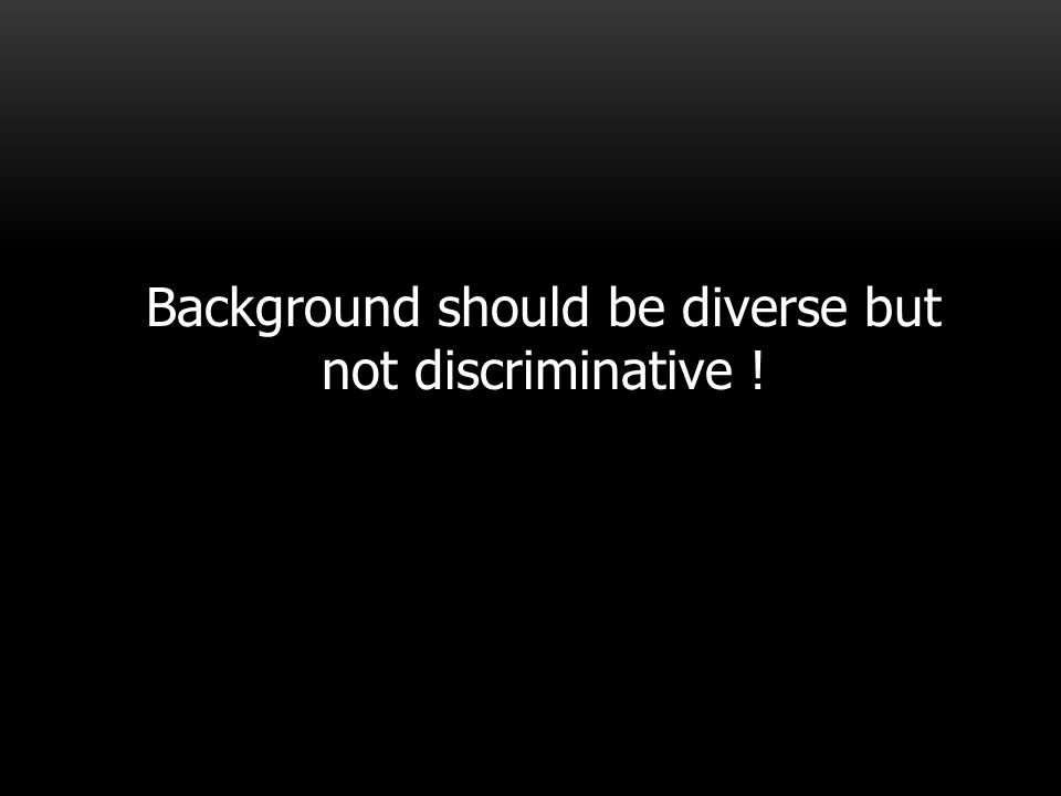 Background should be diverse but not discriminative !