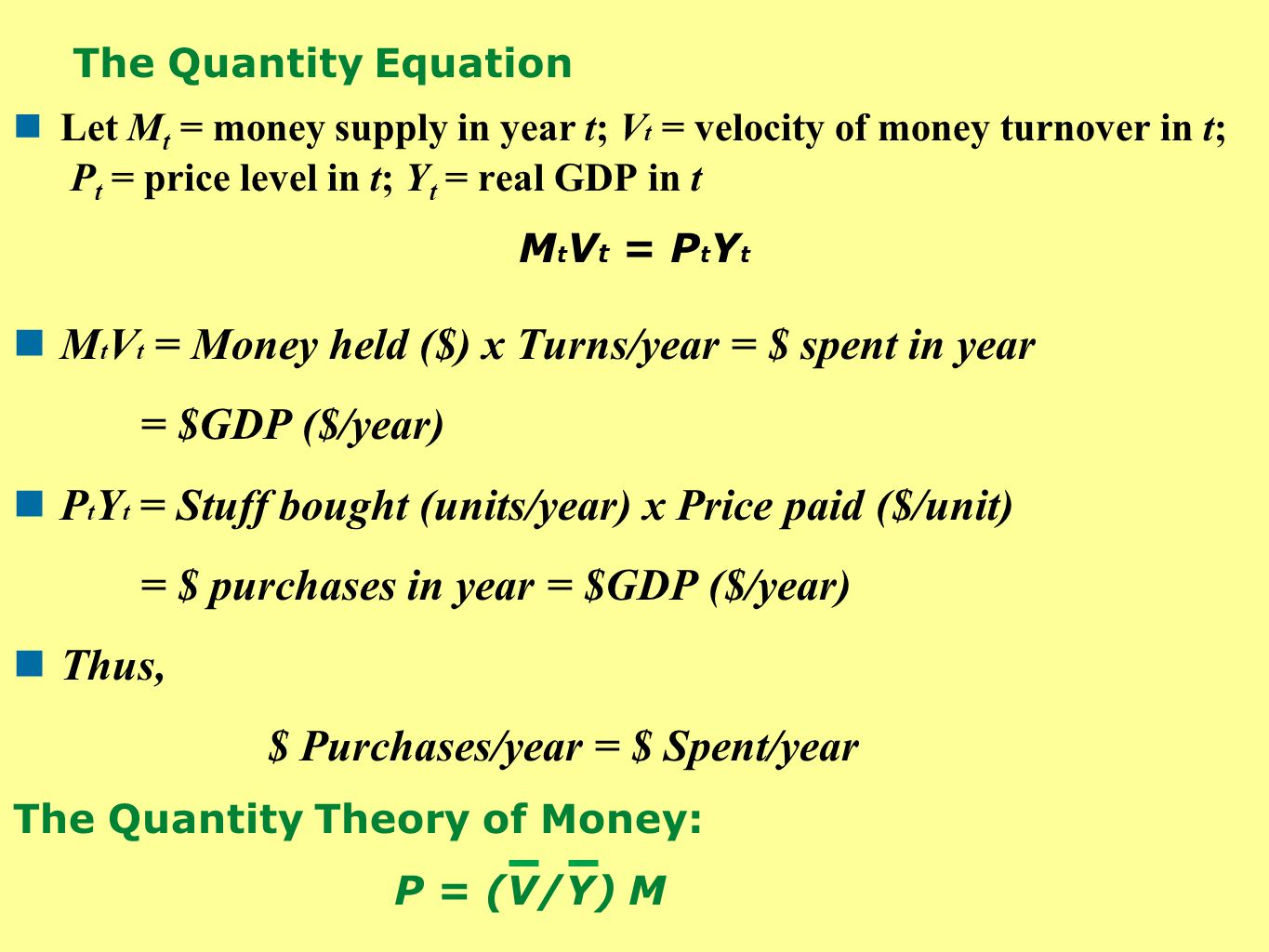 The Quantity Equation Let M t = money supply in year t; V t = velocity of money turnover in t; P t = price level in t; Y t = real GDP in t M t V t = P t Y t M t V t = Money held ($) x Turns/year = $ spent in year = $GDP ($/year) P t Y t = Stuff bought (units/year) x Price paid ($/unit) = $ purchases in year = $GDP ($/year) Thus, $ Purchases/year = $ Spent/year The Quantity Theory of Money: P = (V/Y) M